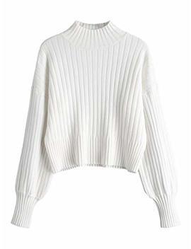 Zaful Women Drop Shoulder Mock Neck Pullover Sweater Long Sleeve Basic Crop Sweater by Zaful