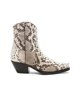 Snakeskin Embossed Cowboy Ankle Boots by R13