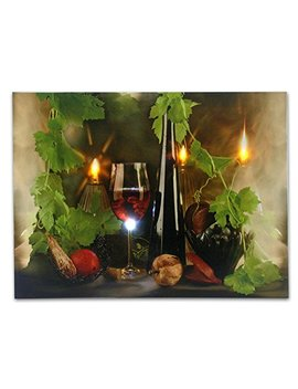 Banberry Designs Wine Decor   Canvas Wall Art With Led Lights   Wine Print With Flickering Lighted Candles With Wine Glasses And Wine Bottle Picture   12x16 Inch by Banberry Designs