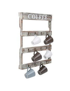 My Gift 12 Hook Rustic Wall Mounted Wood Coffee Mug Holder, Kitchen Storage Rack, Brown by My Gift