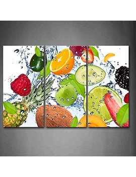 Colorful Various Fruit With Splash Water Wall Art Painting The Picture Print On Canvas Food Pictures For Home Decor Decoration Gift by Firstwallart