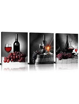 Mode Art 3 Panels Black Background Red Grapes Wine Bottles Fine Artworks Printed On Canvas For Dinning Room Wall Decor by Modeart