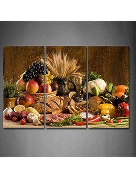 First Wall Art   Brown Fresh Food Grape Apple Fruit In Basket Bread Oion Little Tomato Sweet Pepper Cauliflower Wheat Gather On The Table Wall Art Painting The Picture Print On Canvas Food Pictures For Home Decor Decoration Gift by Firstwallart