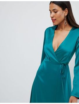 Asos Design Wrap Satin Maxi Dress With Long Sleeve by Asos Design