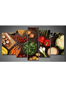 5 Panel Wall Art Fresh Look Color Healthy Eating Of A Table Top Full Of Fresh Vegetables Fruit And Other Healthy Foods Painting Pictures Print On Canvas Fruit The Picture For Home Modern Decoration by Firstwallart