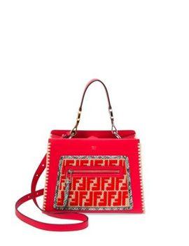 Small Runaway Raffia & Leather Logo Satchel by Fendi