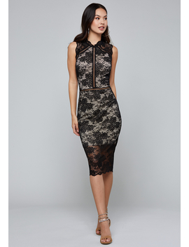Sage Lace Midi Dress by Bebe