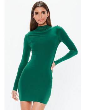 Deep Green High Neck Mini Dress by Missguided