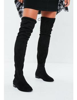 Black Round Toe Over The Knee Boots by Missguided