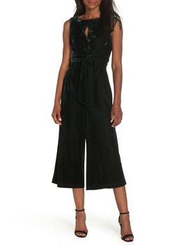 Simone Wide Leg Crop Velvet Jumpsuit by Adelyn Rae