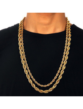 6mm Men Women 18k Yellow Gold Plated Twisted Wrest Rope Chain Necklace 20'' by Ebay Seller