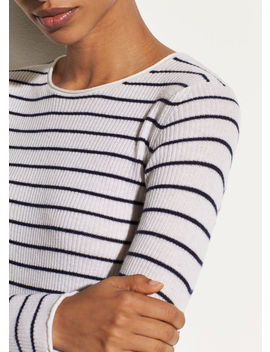 Stripe Ribbed Cashmere Crew by Vince
