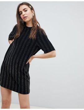 Monki Glitter T Shirt Dress In Black by Monki