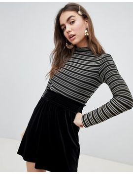 Monki Stripe Jersey Top In Gold And Silver by Monki
