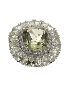 Sterling Silver 18.96ct Prasiolite And White Topaz Flower Ring by Generic