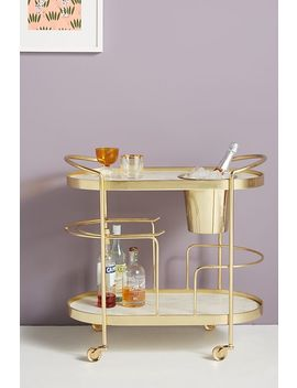 Marble Top Brass Bar Cart by Anthropologie