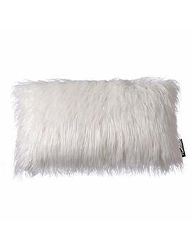 "Phantoscope Decorative New Luxury Series Merino Style Off White Fur Throw Pillow Case Cushion Cover 12"" X 20"" 30 X 50 Cm by Phantoscope"