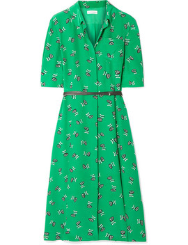 Wednesday Belted Printed Silk Crepe De Chine Shirt Dress by Altuzarra