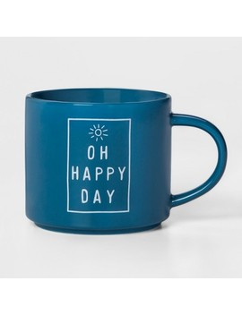 16oz Porcelain Oh Happy Day Mug Blue   Threshold™ by Threshold