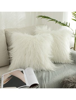 """Kevin Textile Set Of 2 Christmas Decorative New Luxury Series Merino Style Off White Fur Throw Pillow Case Cushion Cover Pillow Cover For Bed (18"""" X 18"""" 45cm X 45cm) by Kevin Textile"""