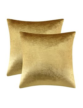 Gigizaza Gold Velvet Decorative Throw Pillow Covers For Sofa Bed 2 Pack Soft Cushion Cover (Gold, 18 X 18  Set Of 2) by Gigizaza