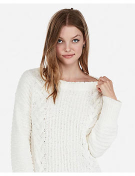 Petite Cozy Cable Knit Sweater by Express