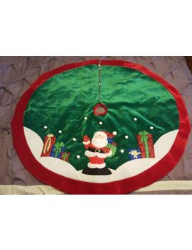"48"" Green Velvet Lame Santa Claus Presents Gifts Christmas Tree Skirt Snow Balls by Ebay Seller"