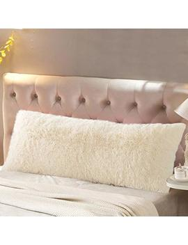 """Reafort Luxury Long Hair, Pv Fur, Faux Fur Body Pillow Cover/Case 21""""X54"""" With Hidden Zipper Closure (Cream, 21""""X 54"""" Pillow Cover) by Reafort"""