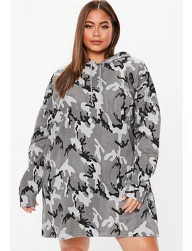 Plus Size Gray Camo Print Oversized Sweater Dress by Missguided