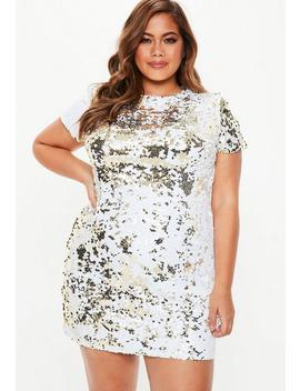 Plus Size Gold Two Way Sequin T Shirt Dress by Missguided