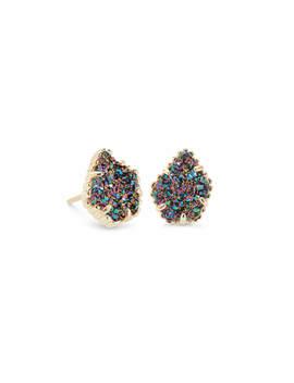 Tessa Gold Stud Earrings In Multicolor Drusy by Kendra Scott