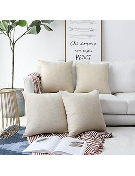 Home Brilliant Decorative Lined Linen Square Throw Pillow Cases Protectors Cushion Covers For Sofa, Set Of 4, Light Linen, 45 Cm by Home Brilliant