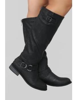 Back Away Flat Boot   Black by Fashion Nova