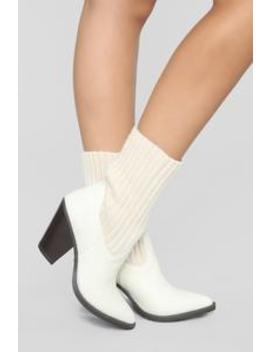 Glad You're Here Bootie   Off White by Fashion Nova