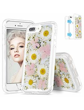 """Seymac Flower Case For I Phone 7 Plus, Full Body Protection Bumper Rugged Non Slip Shockproof Protective Clear Case With Dried Real Flower For 5.5"""" I Phone 6 Plus/6s Plus/7 Plus/8 Plus(Pink) by Seymac"""