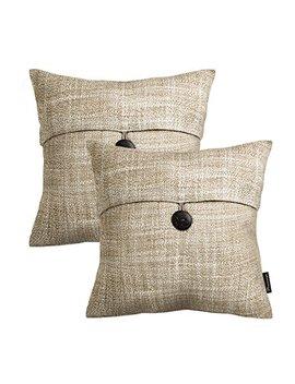 "Phantoscope Set Of 2 Button Beige Linen Decorative Throw Pillow Case Cushion Cover 18""X18 by Phantoscope"