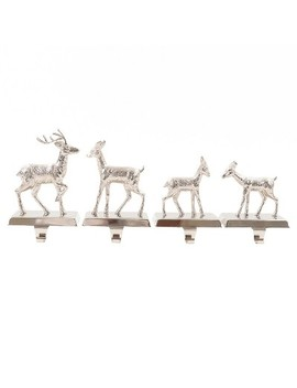 4ct Silver Deer Family Christmas Stocking Holder Set   Wondershop™ by Wondershop