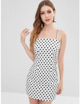 Cami Polka Dot Bodycon Mini Dress   White L by Zaful