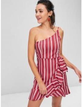 Ruffles Striped One Shoulder Dress   Cherry Red M by Zaful