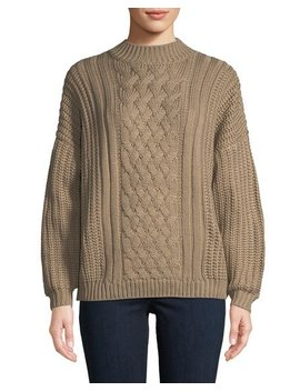 Mock Neck Cable Knit Sweater by Evidnt