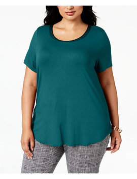 Plus Size Satin Trimmed T Shirt, Created For Macy's by Alfani