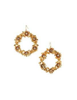 Floral Hoop Drop Earrings by Lydell Nyc