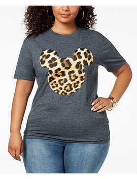 Plus Size Leopard Print Mickey Mouse T Shirt by Disney