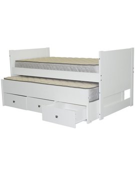 Bedz King Captains Twin Bed With Twin Trundle And 3 Drawers, White by Bedz King