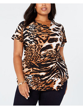 I.N.C. Plus Size Animal Print Top, Created For Macy's by Inc International Concepts