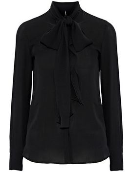 Ruffle Trimmed Silk Crepe Blouse by Valentino