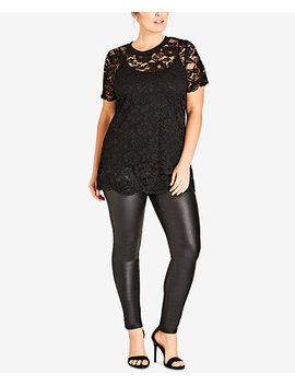 Trendy Plus Size Lace Top by City Chic