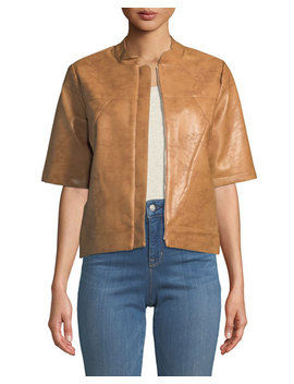 Short Sleeve Faux Leather Topper Jacket by Bcb Generation
