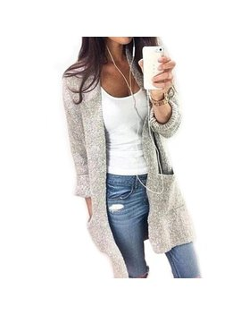 Women Open Knitted Sweater Casual Long Sleeve Cardigan Jacket by