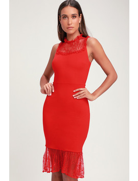 Two To Tango Red Lace Bodycon Midi Dress by Ali & Jay